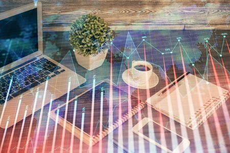 Double exposure of financial graph drawing and cell phone background. Concept of forex trading Stok Fotoğraf