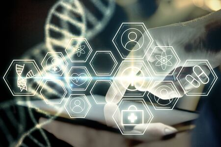 Double exposure of mans hands holding and using a phone and DNA drawing. Medical education concept.