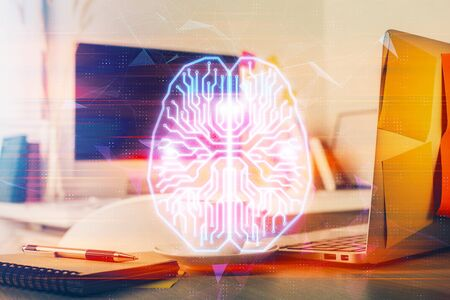Double exposure of work space with computer and human brain drawing hologram. Brainstorm concept. Фото со стока