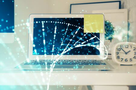 Desktop computer background and DNA drawing. Double exposure. Science concept.