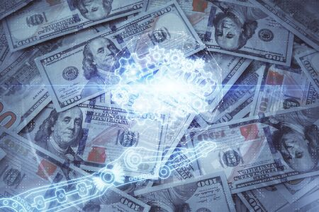 Double exposure of data theme drawing over us dollars bill background. Technology concept.