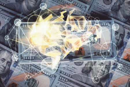 Double exposure of brain drawing over us dollars bill background. Technology concept. Banque d'images