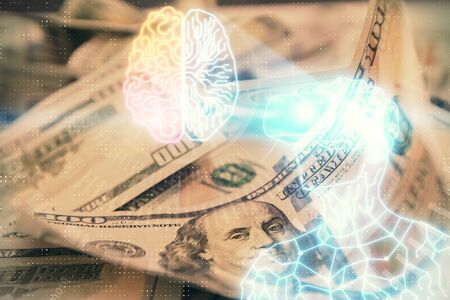 Double exposure of man wearing VR glasses drawing over usa dollars bill background. Concept of virtual reality.