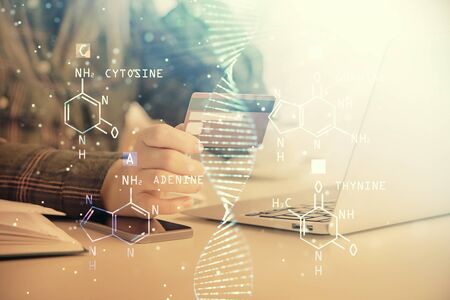 Multi exposure of woman on-line shopping holding a credit card and DNA drawing. Medical education E-learning concept.