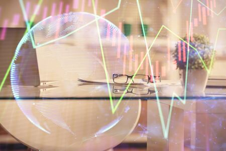 Double exposure of financial graph drawing and office interior background. Concept of stock market.