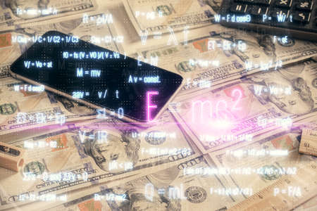Double exposure of formula drawing over usa dollars bill background. Concept of education.