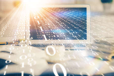 Multi exposure of desktop computer and technology theme hologram. Concept of software development. Фото со стока