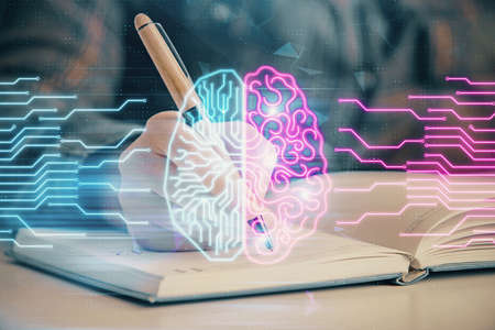 Multi exposure of woman's writing hand on background with brain hologram. Concept of brainstorming.