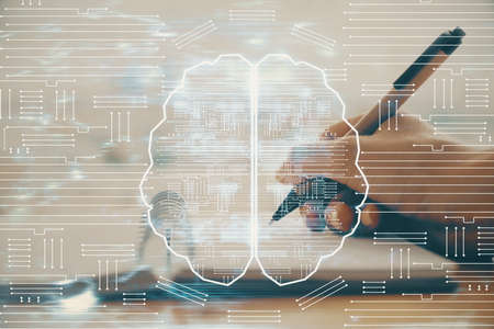 Double exposure of writing hand on background with brain hologram. Concept of learning. Фото со стока
