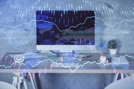 Multi exposure of financial graph drawing and office interior background. Concept of market analysis.
