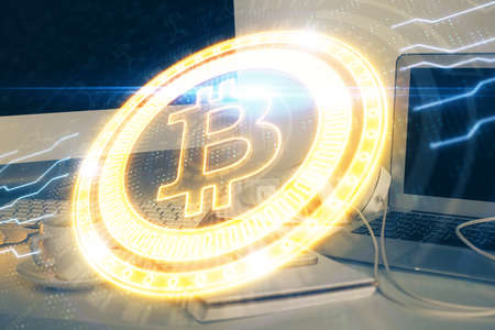 Multi exposure of blockchain theme hologram and table with computer background. Concept of bitcoin crypto currency. Stok Fotoğraf
