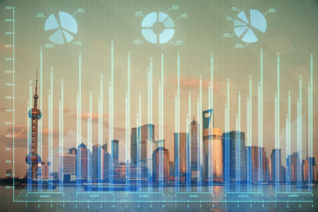 Forex graph on city view with skyscrapers background double exposure. Financial analysis concept. Stok Fotoğraf