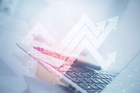 Computer on desktop with point up arrows hologram. Double exposure. Concept of success. 写真素材