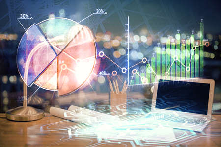 Multi exposure of forex graph and work space with computer. Concept of international online trading. Standard-Bild - 151365464