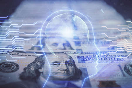 Double exposure of brain drawing over us dollars bill background. Technology concept.