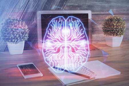 Multi exposure of work table with computer and brain hologram. Brainstorm concept. Stockfoto