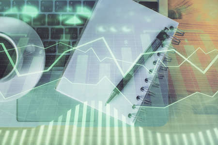 Multi exposure of forex chart drawing and work table top veiw. Concept of financial analysis.