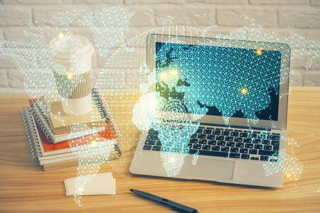 Multi exposure of business theme icons and table with computer background. Concept of success.