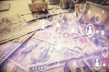 Multi exposure of social network drawing over us dollars bill background. Concept of people connection.