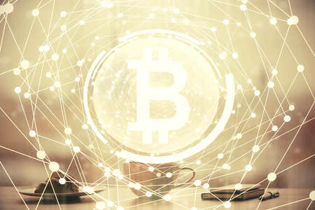 Double exposure of crypto currency theme drawing hologram over coffee cup background in office. Concept of international blockchain. Imagens