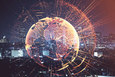 Multi exposure of social network theme drawing and cityscape background. Concept of people connecton.