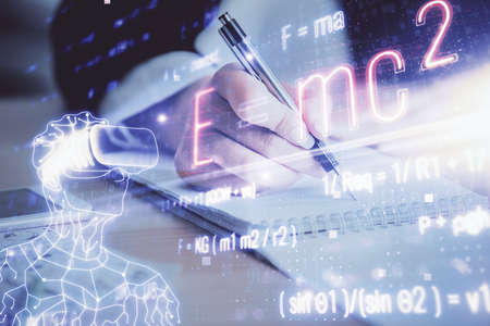Science formula hologram over womans hands taking notes background. Concept of study. Multi exposure