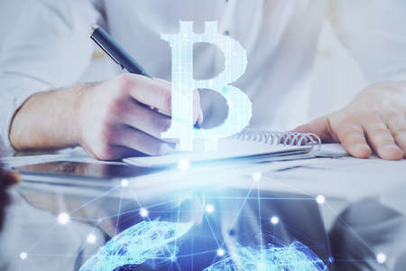 Businessman with hands background. Multi exposure with crypto currency concept.
