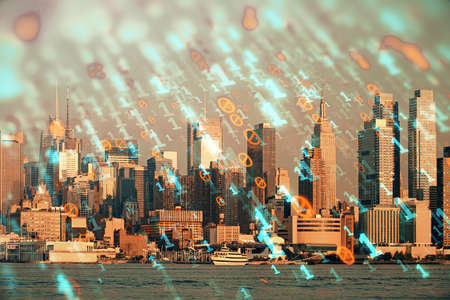 Data theme hologram drawing on city view with skyscrapers background double exposure. Technology concept.