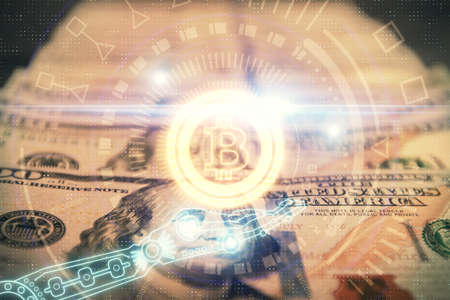 Multi exposure of crypto theme drawing over us dollars bill background. Concept of blockchain success.