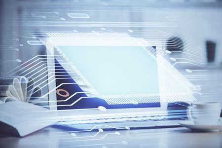 Multi exposure of desktop computer and technology theme hologram. Concept of software development. 免版税图像