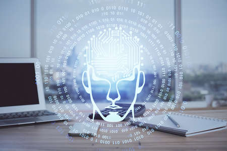 Multi exposure of work space with computer and human brain hologram. Brainstorm concept.