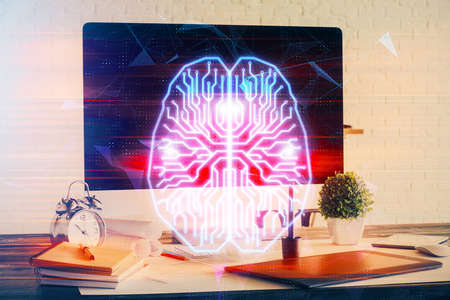 Double exposure of desktop computer and human brain drawing hologram. Ai concept.
