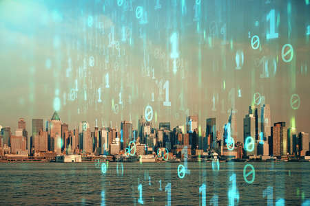 Data theme hologram drawing on city view with skyscrapers background multi exposure. Bigdata concept.