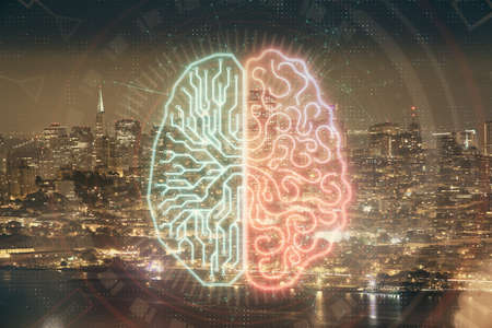 Brain hologram drawing on city scape background Double exposure. Brainstorming concept.