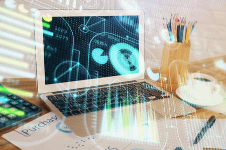 Multi exposure of desktop with computer on background and tech theme drawing. Concept of big data. 스톡 콘텐츠