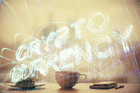 Double exposure of crypto currency theme drawing hologram over coffee cup background in office. Concept of international blockchain.