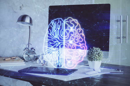 Multi exposure of work table with computer and brain hologram. Brainstorm concept. Stock fotó