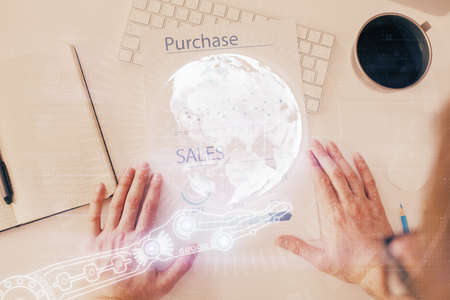 Man's hands with international data global network topic double exposure icon. Concept of globalization.