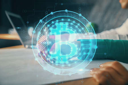 Double exposure of blockchain theme drawing over people taking notes background. Concept of cryptocurrency