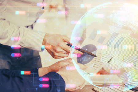 Man's hands with international data network theme double exposure icon. Concept of globalization.