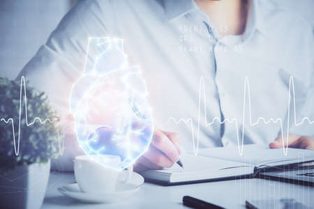 Abstract heart on background. Medicine and health concept. Double exposure Banque d'images