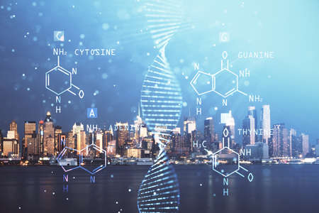 Double exposure of DNA drawing and cityscape background. Concept of education.