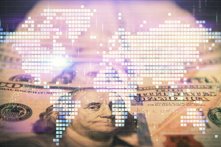 Multi exposure of business theme drawing over us dollars bill background. Concept of financial success.