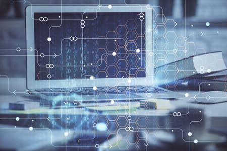 Multi exposure of desktop computer and technology theme hologram. Concept of software development. Banque d'images