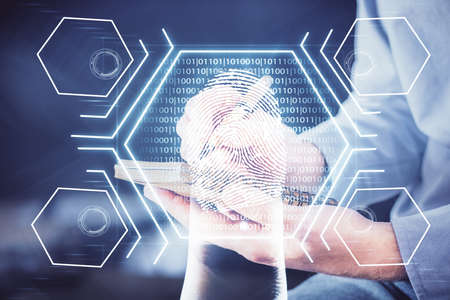 Concept of the future of security and password control through advanced technology. Fingerprint scan provides safe access with biometrics identification. Multi exposure. Banque d'images
