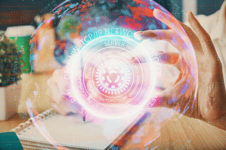 Tech theme hologram over womans hands taking notes background. Concept of hightech. Double exposure Banque d'images