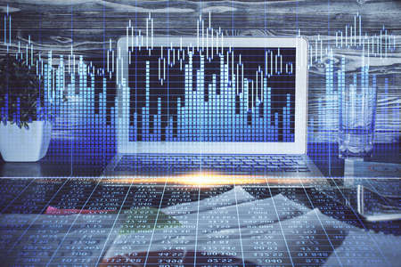 Multi exposure of chart and financial info and work space with computer background. Concept of international online trading.