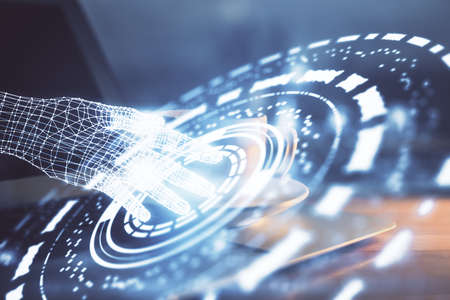 Double exposure of desktop computer and technology theme hologram. Concept of software development.