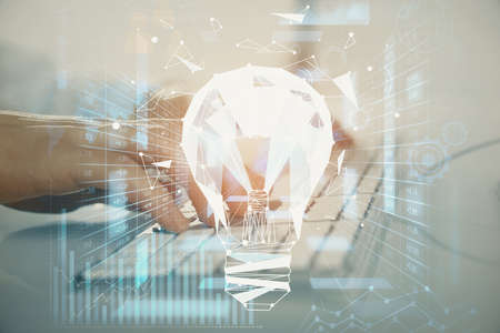 Growing arrows with businessman working on computer on background. Success concept. Double exposure. 스톡 콘텐츠