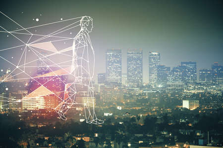 Double exposure of start up theme drawings over cityscape background. Concept of success.